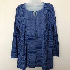 Lucky Brand Blue Peasant Top - XL